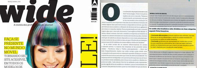 Foto da capa e da matéria de entrevista de Victor Gonçalves na Revista Wide, sobre MOBILE.